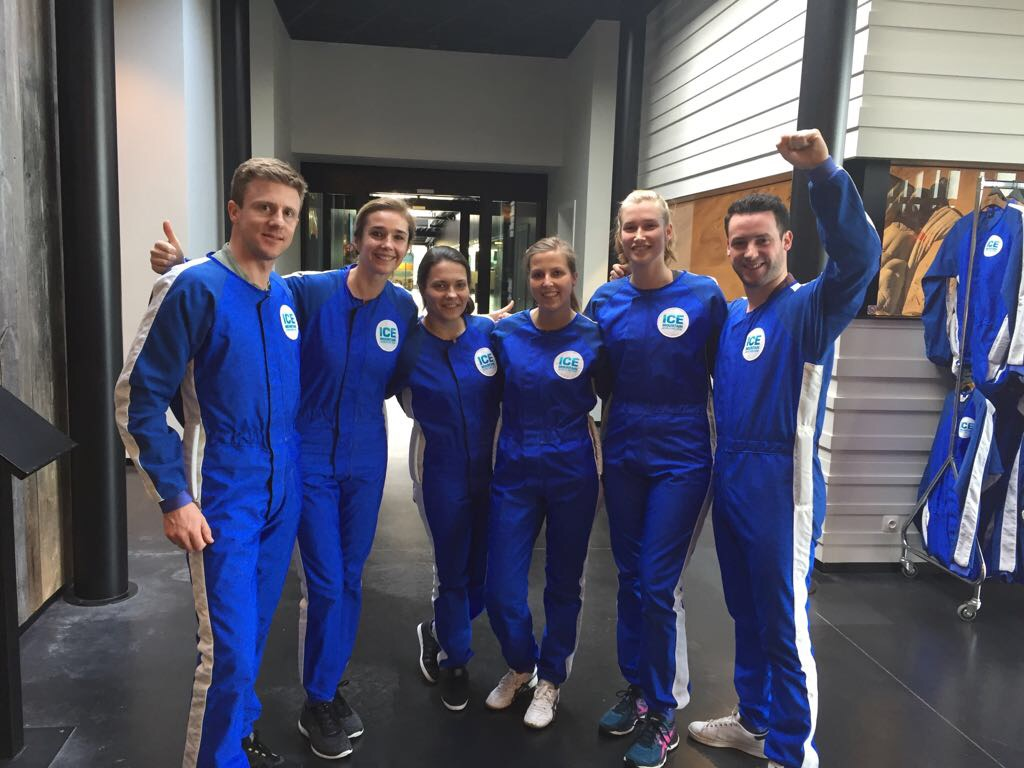 employees celebrating milestones skydiving