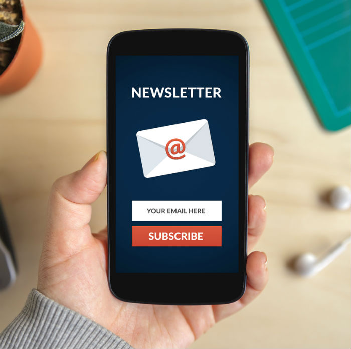 phone screen reading newsletter subscription